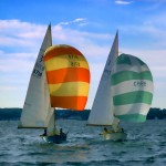 Lightening class sailboats racing with their colorful spinnakers catching the wind.