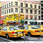 Taxis at 6th Av and 14th Street